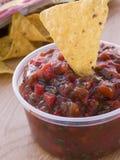 Crisol de la inmersión de la salsa del tomate y del coriandro Imágenes de archivo libres de regalías