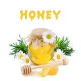 Crisol de la miel de la vendimia con las margaritas fotos de archivo