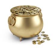 Crisol de monedas de oro ilustración del vector