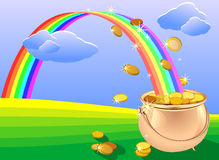 Crisol de monedas de oro y arco iris en el campo Fotografía de archivo