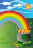 Crisol de oro en el extremo del arco iris imagen de archivo libre de regalías