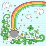 Crisol de oro en el final del Doodle del arco iris Imagen de archivo libre de regalías