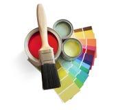 Crisol de pintura y muestras Foto de archivo