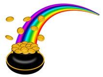 Crisol del día de Patricks del santo de oro con el arco iris ilustración del vector