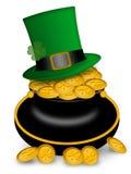 Crisol del día de Patricks del santo del oro y del sombrero ilustración del vector