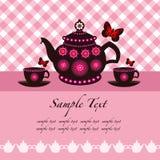 Crisol del té y tazas de té Imagen de archivo libre de regalías