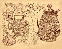 Crisol drenado mano del café stock de ilustración