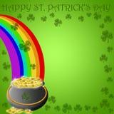 Crisol feliz del día del St Patricks del extremo del oro del arco iris Foto de archivo