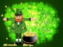 Crisol feliz del Leprechaun del día del St Patricks de oro Foto de archivo