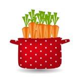Crisol rojo con las zanahorias. Orgánico, dieta, alimento sano Imagenes de archivo