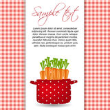 Crisol rojo con las zanahorias. Orgánico, dieta, alimento sano libre illustration
