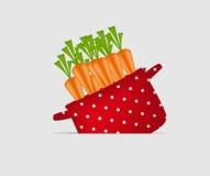 Crisol rojo con las zanahorias. Orgánico, dieta, alimento sano stock de ilustración