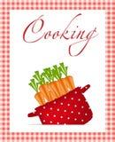 Crisol rojo con las zanahorias. Orgánico, dieta, alimento sano Imagen de archivo libre de regalías