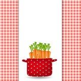 Crisol rojo con las zanahorias. Orgánico, dieta, comida sana stock de ilustración