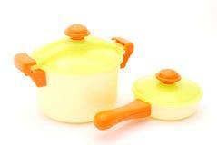 Crisol y cacerola del juguete Imagen de archivo libre de regalías