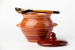 Crisol y cuchara de cerámica Foto de archivo libre de regalías