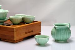 Crisol y tazas chinos del té Fotografía de archivo