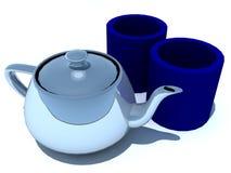 Crisol y tazas del té Fotografía de archivo