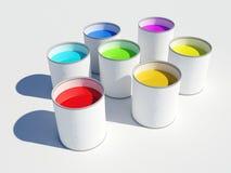 Crisoles de colores de la pintura de un arco iris Imagen de archivo libre de regalías
