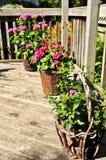 Crisoles de flor en cubierta de la casa Imágenes de archivo libres de regalías
