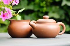 Crisoles del té de la arcilla Fotos de archivo libres de regalías