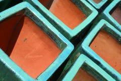 Crisoles esmaltados de la terracota Fotografía de archivo