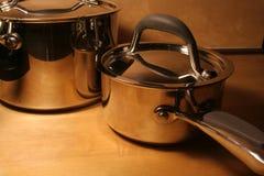 Crisoles metálicos Foto de archivo libre de regalías