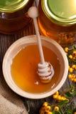 Crisoles y tazón de fuente con la miel y las bayas Foto de archivo