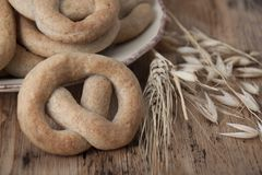 Crisp biscuit baked in the form of a knot Royalty Free Stock Photo