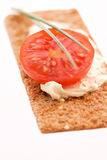 Crisp bread. With tomato and spread stock images