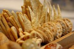 Crisp bread in a basket Stock Photos