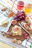 Crisp bread with cheese and fruit Royalty Free Stock Images