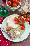 Crisp bread, cheese and tomatoes Royalty Free Stock Photography