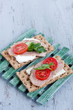 Crisp bread with cheese and turkey meat Royalty Free Stock Photography