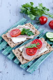 Crisp bread with cheese and turkey meat Royalty Free Stock Image