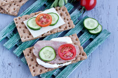 Crisp bread with cheese and turkey meat Royalty Free Stock Photo
