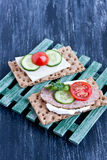 Crisp bread with cheese and turkey meat Stock Images