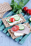 Crisp bread with cheese and turkey meat Royalty Free Stock Photos