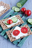 Crisp bread with cheese Royalty Free Stock Images