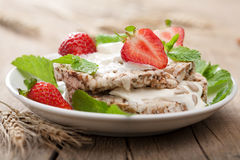 Crisp bread with cottage cheese and berries Stock Photos