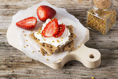 Crisp bread with cottage cheese and berries Royalty Free Stock Images