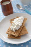 Crisp bread with cottage cheese Stock Image