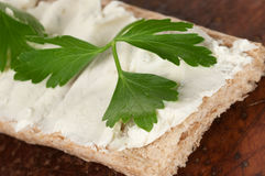 Crisp bread with curd cheese Royalty Free Stock Photo