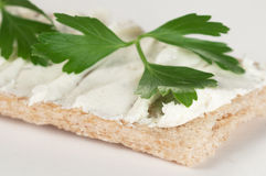 Crisp bread with curd cheese Stock Photos
