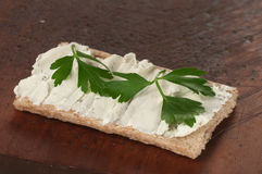 Crisp bread with curd cheese Stock Photography
