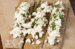 Crisp bread with curd Royalty Free Stock Photos