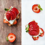 Crisp bread with goat cheese and strawberries Royalty Free Stock Image