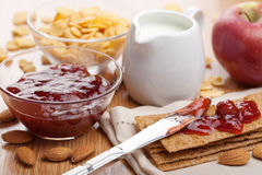 Crisp bread with jam for breakfast Stock Photography