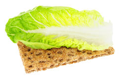 Crisp Bread With Lettuce Leaf Low Calorie Diet Food Royalty Free Stock Photos