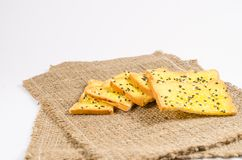 Crisp bread with margarine and sesame Royalty Free Stock Images